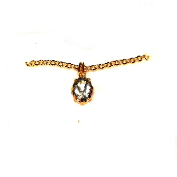 Gold Tone Neck Chain with Rhinestone Pendant