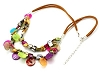 Flat faux Suede Cord 19.5 Inch Colorful Shell Necklace