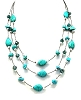 22 Inch 3 Strands Turquoise Necklace with Spacer and Faceted Beads