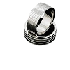 Men's 316L Stainless Steel 4 Ribbed linear Ring