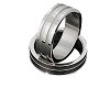 Men's 316L Stainless Steel 2 Ribbed linear Ring
