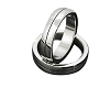 Men's Stainless Steel Round Edge Ring w/ center black linear line