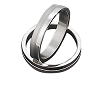 Stainless Steel 4 mm 1/2 of ring polished 1/2 matte Band Ring