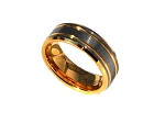 Tungsten Carbide 8 mm 24K Gold Double Stripe Band Ring