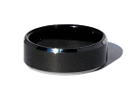 Tungsten Carbide 8 mm Smooth Black Center Ring Polished Edges