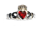 Sterling Silver Celitc Claddagh Lover Red CZ Cubic Zirconia Ring