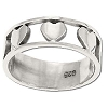 925 Sterling Silver Interspaced Hearts Band Ring