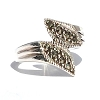 Sterling Silver 8  Genuine Marcasite Stone Flair Ring