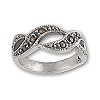 Sterling Silver 6 Genuine Marcasite Stone Swirl Ring