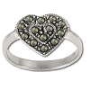 Sterling Silver Genuine Marcasite Heart Ring