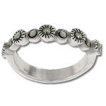 Sterling Silver Genuine Nine Marcasite Stone Ring