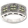 Sterling Silver Genuine 12 Marcasite Triple Block Ring