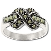 Sterling Silver Genuine 14 Marcasite Thru Infinity Ring
