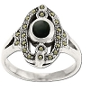 Sterling Silver Genuine Marcasite Ring with Center Genuine Stone