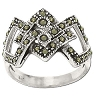 Sterling Silver 35 Genuine Marcasite Intertwined Ring