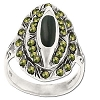 Sterling Silver Genuine 32 Marcasite & Onyx 3-Tiered Ring
