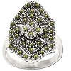 Sterling Silver Genuine 38 Marcasite Large Shield Ring