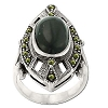 Sterling Silver Genuine Marcasite and Stone Art Deco Ring