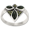 Sterling Silver Genuine Marcasite and Triple Stone Ring