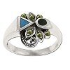 Sterling Silver Genuine Marcasite & Geometric Stone Ring