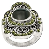 Sterling Silver Genuine Marcasite and Stone Center Ring