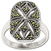 Sterling Silver Genuine Marcasite Open Slit Ring