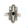 Sterling Silver Genuine Marcasite and Onyx Elliptical Ring