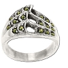 Sterling Silver Genuine 17 Marcasite Wave Ring