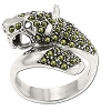 Sterling Silver Genuine 47 Marcasite Jaguar Wrap Ring