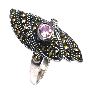 Sterling Silver 30 Marcasite and AMETHYST Long Shield Ring