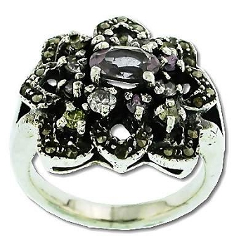 Sterling Silver 24 Marcasite 13 AMETHYST Flower Ring