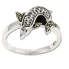 Sterling Silver Genuine 7 Marcasite Flapping Fish Ring