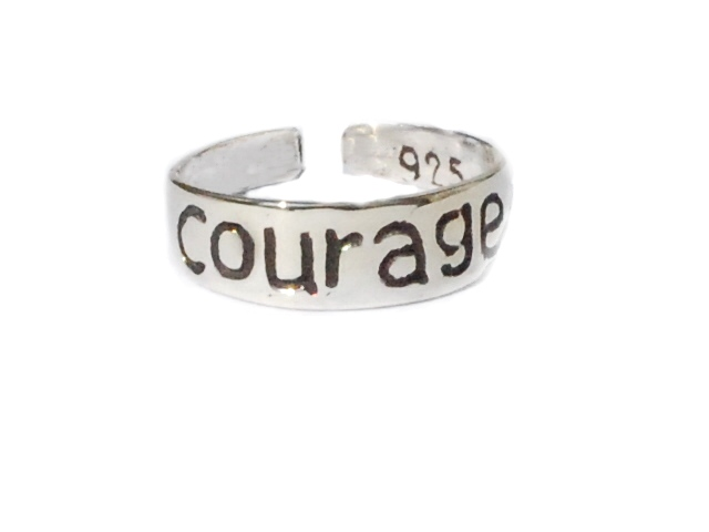 New Sterling Silver TOE RINGs engraved with the word COURAGE