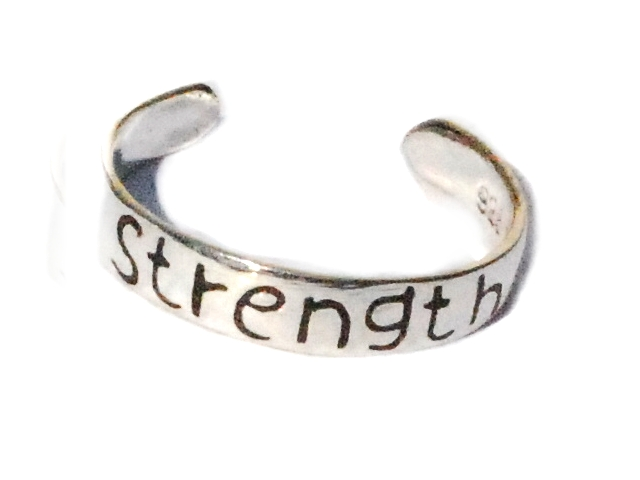 New Sterling Silver toe rings engraved with the word STRENGTH