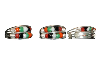 Sterling Silver Double Strand TOE RING W/ Seed Beads