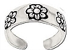 Sterling Silver toe ring with engraved flower petal