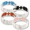 Sterling Silver Enamel Tribal Design Band Ring Assortment