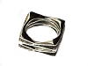 New Sterling Silver 4 Corner Open  Square Ring