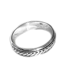Sterling Silver Balinese Slanted Dash Band Spinner Ring