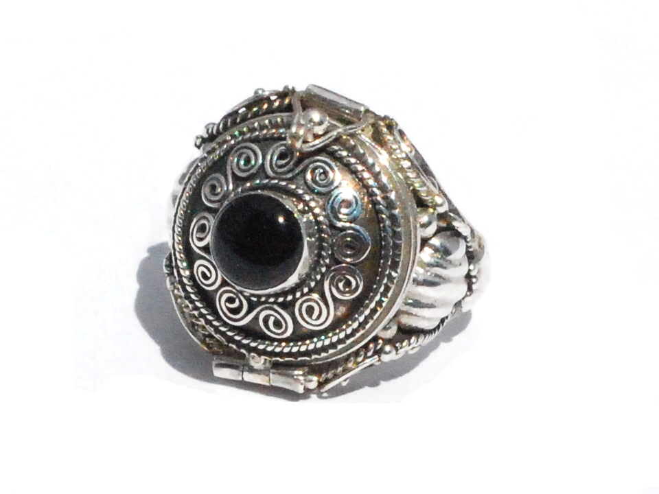 Sterling Silver Bali Hand Made Round Black Onyx Poison Ring