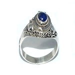 Sterling Silver thin Poison Ring with Genuine Lapis Stone