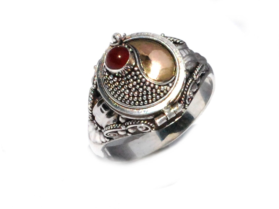 Sterling Silver Poison Ring With Carnelian And 18k Gold
