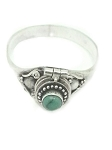 Sterling Silver Bali Thin Round Turquoise Poison Ring