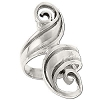 Sterling Silver Large Curly Double Wave Ring