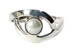 Sterling Silver Eye Shape Pearl  Ring