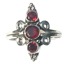 925 Sterling Silver Balinese  Ring with 3 Prongs with  Garnet Gemstones