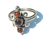 925 Sterling Silver Balinese  Ring with 3 Prongs with  Amber Gemstones