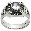 Sterling Silver Marcasite Blue CZ Cubic Zirconia Stone Ring