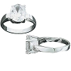 Sterling Silver Oval CZ Cubic Zirconia 4-Prong Solitaire Ring