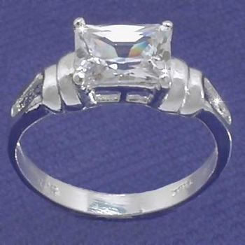 Sterling Silver Square-Cut CZ CUBIC ZIRCONIA Solitaire Ring